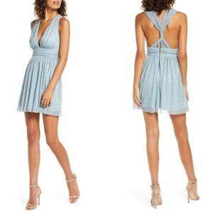 NWT Lulu's Ailey Metallic Silver Blue Twist Dress